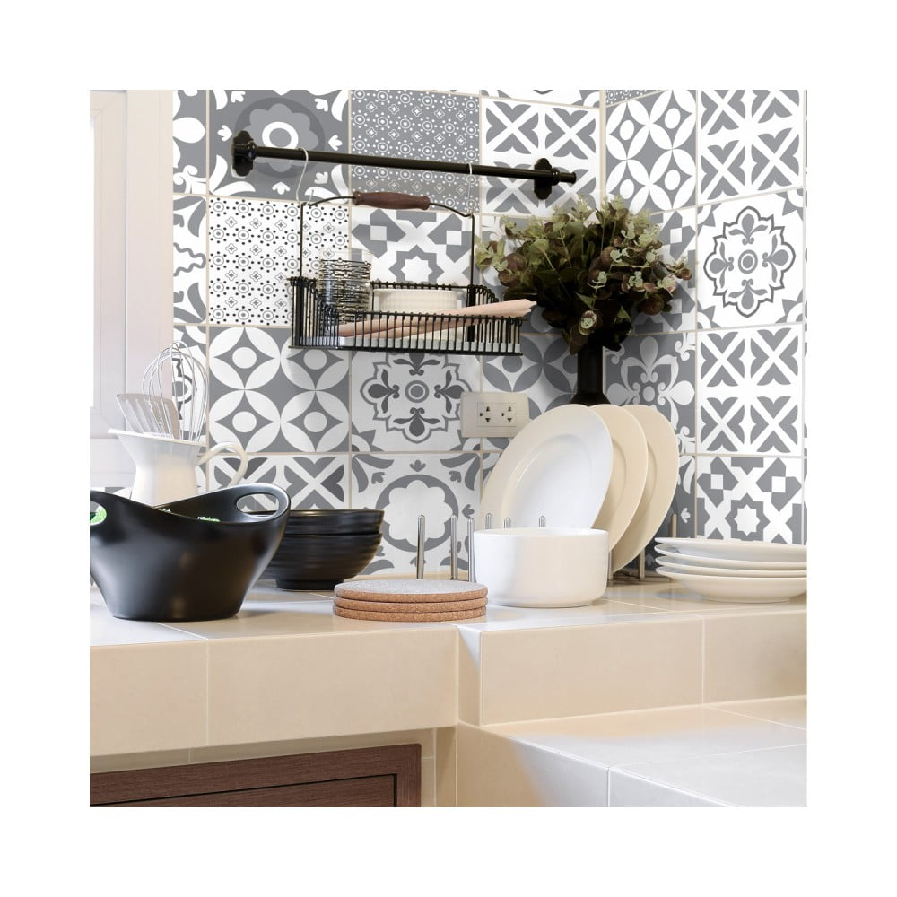 Sada 30 nástenných samolepiek Ambiance Wall Stickers Cement Tiles Azulejos Evra, 10 × 10 cm