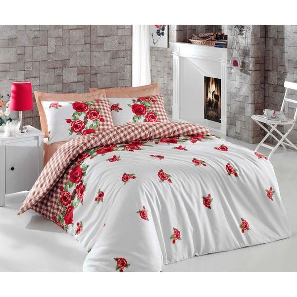 Červené obliečky s plachtou Love Colors Florid, 200 x 220 cm
