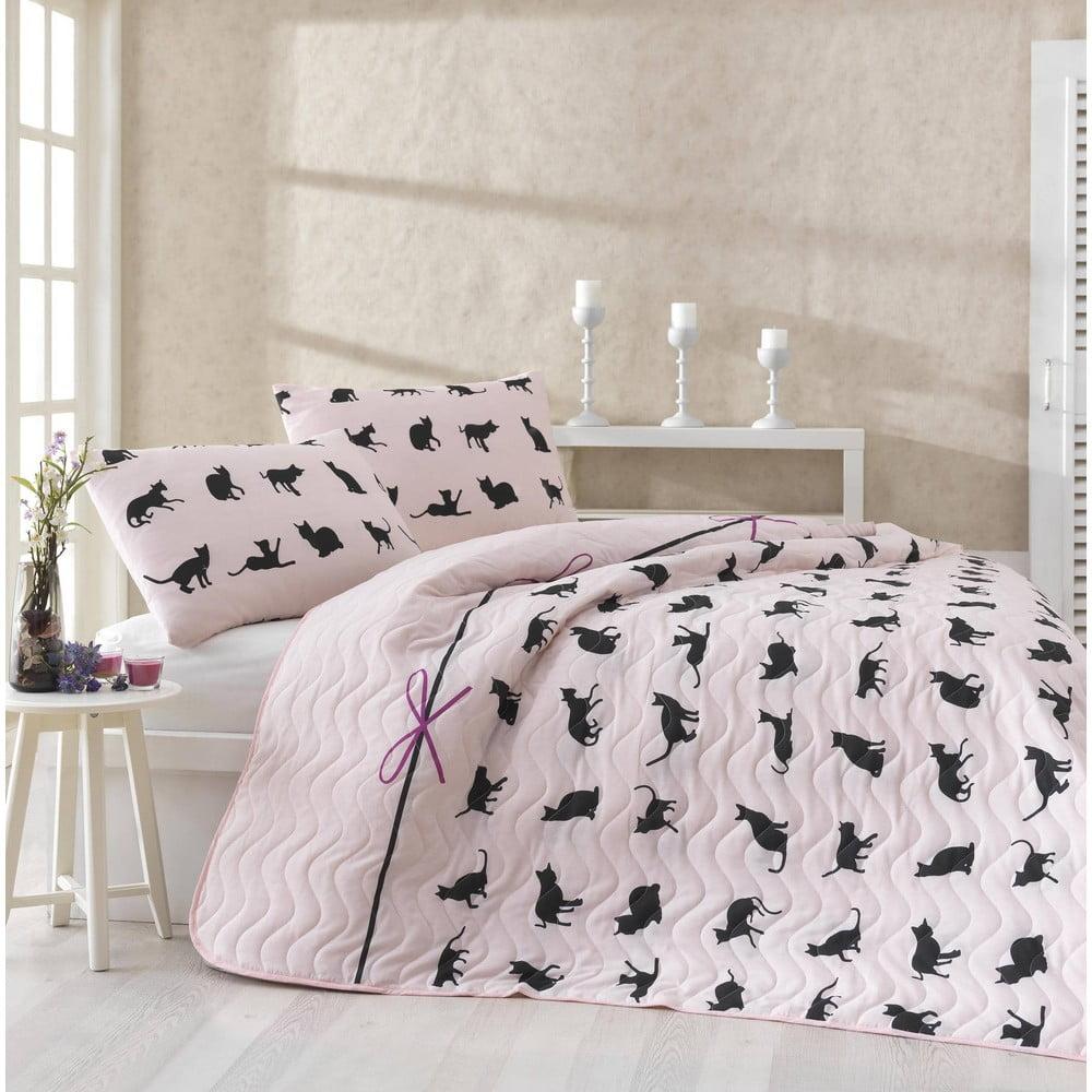 Set prikrývky s obliečkami na vankúše Cats, 200 × 220 cm
