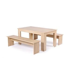 Set jedálenského stola a 2 lavíc v drevenom dekore Intertrade Munich, 80 x 140 cm