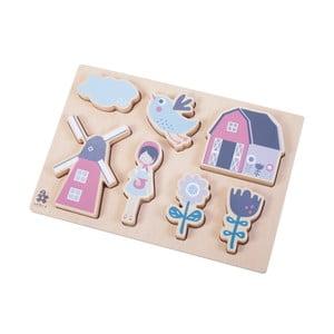 Detské drevené puzzle Sebra Farm Girl