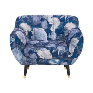 Modré kreslo Mazzini Sofas Benito Floral