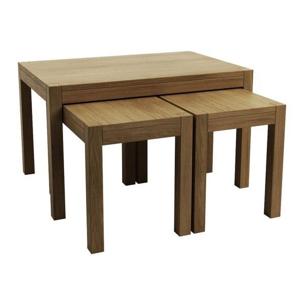 Sada 3 odkladacích stolíkov z dubového dreva Fornestas Sims