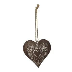 Závesná drevená dekorácia v tvare srdca Antic Line Julie