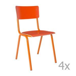 Sada 4 oranžových stoličiek Zuiver Back to School