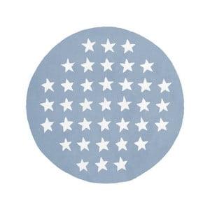 Modro-biely ručne tkaný okrúhly koberec Kayoom Peony 823 Pastelblau, ⌀120cm