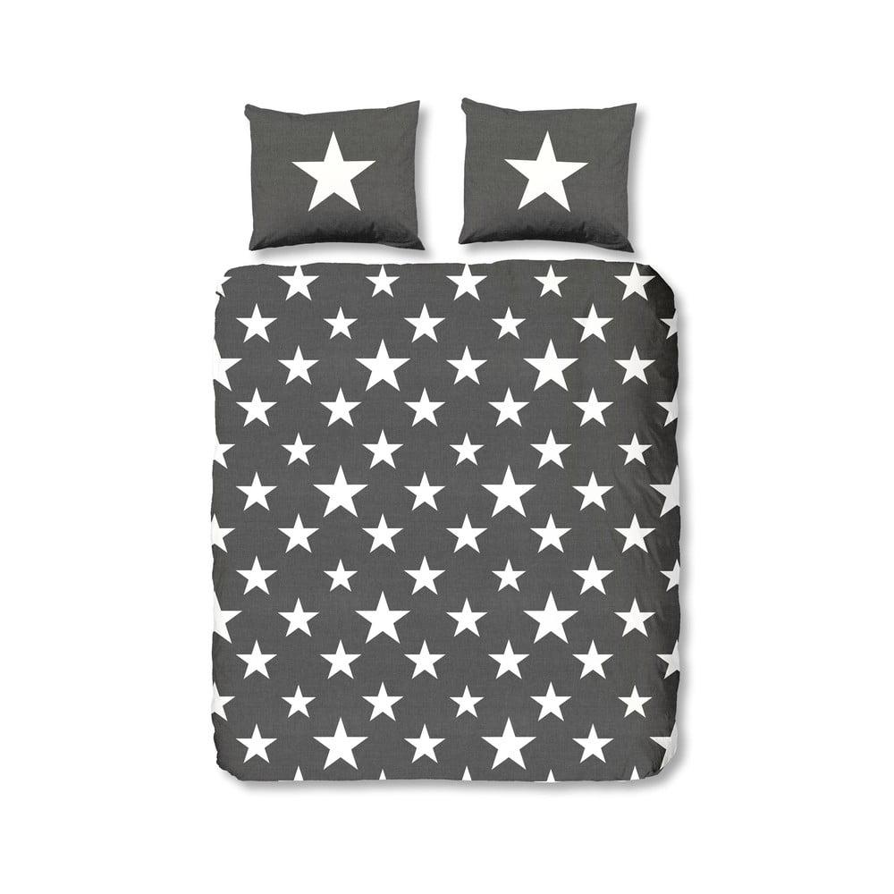 Antracitové flanelové obliečky Muller Textiel Antracit Stars, 240 x 200 cm
