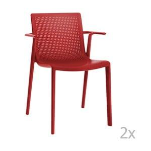 Sada 2 červených záhradných stoličiek sopierkami Resol Beekat