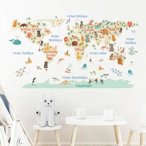 Nástenná samolepka Ambiance Pastel World Map