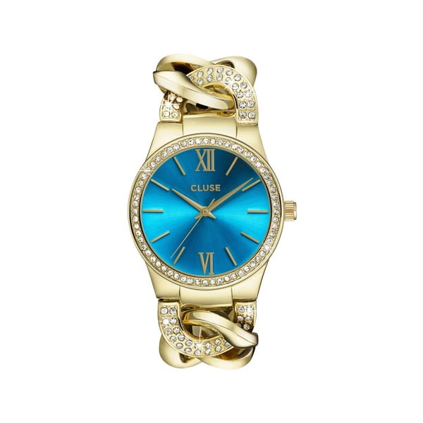 Dámské hodinky Brillante Gold/Blue Lagoon, 38 mm
