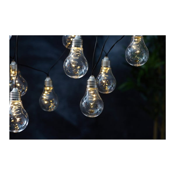 Biela solárna svetelná LED reťaz vhodná do exteriéru Best Season Glow, 10 svetielok