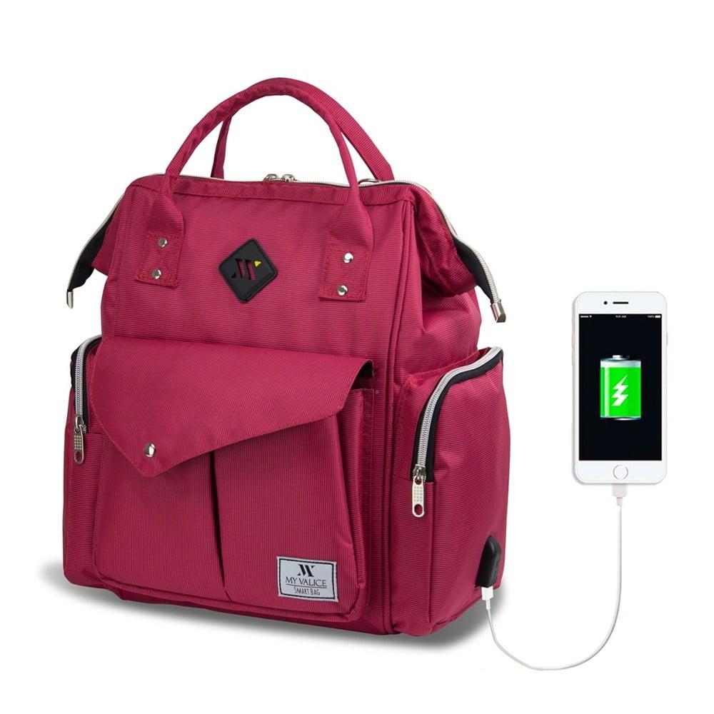 Fuksiový batoh pre maminky s USB portom My Valice HAPPY MOM Baby Care Backpack
