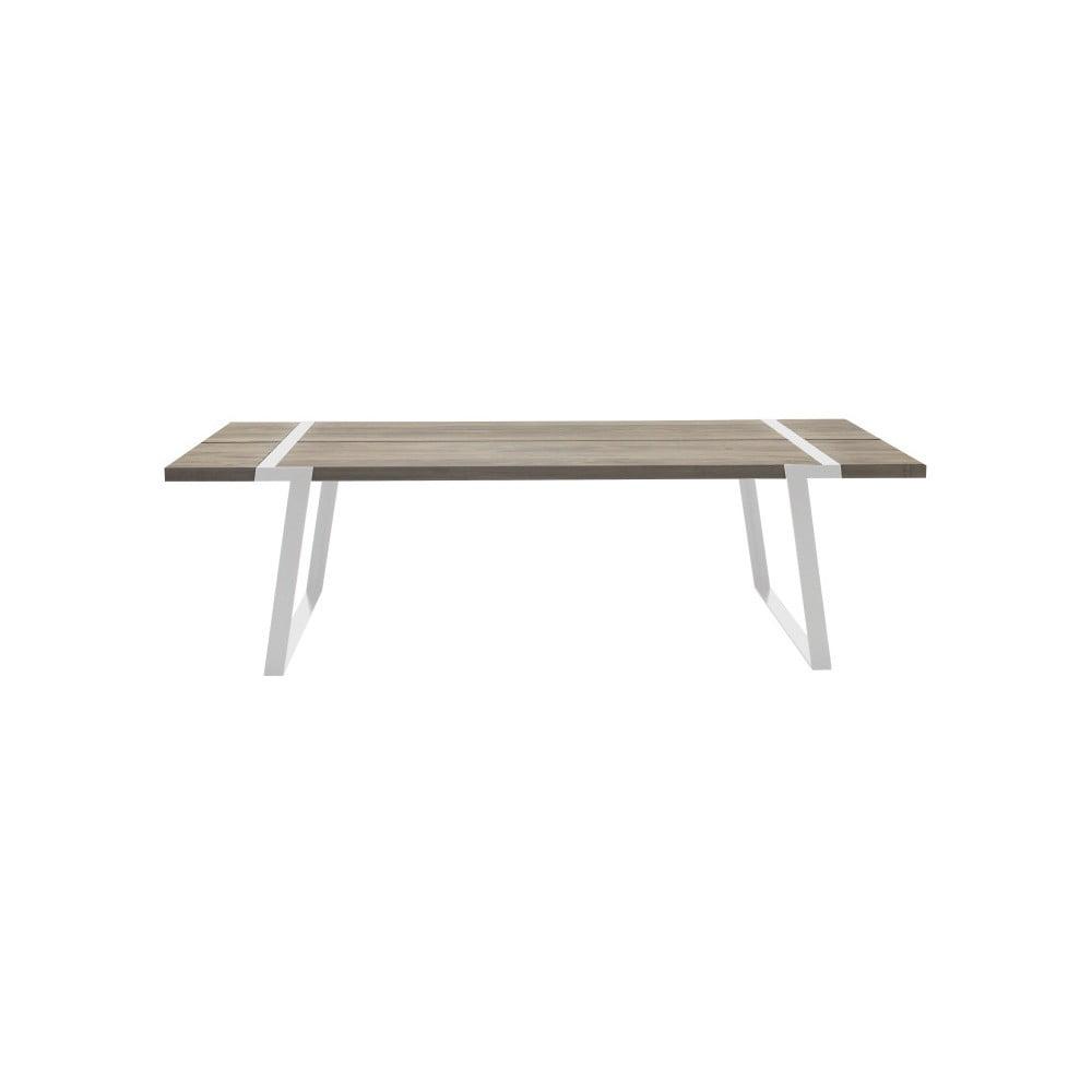 Svetlý drevený jedálenský stôl s bielym podnožím Canett Gigant, 240 cm