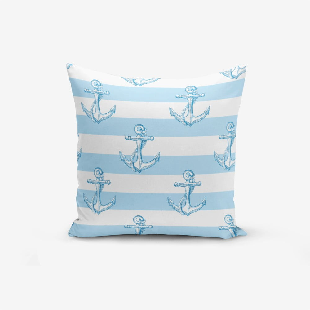 Obliečka na vankúš s prímesou bavlny Minimalist Cushion Covers Blue White See Concept, 45 × 45 cm