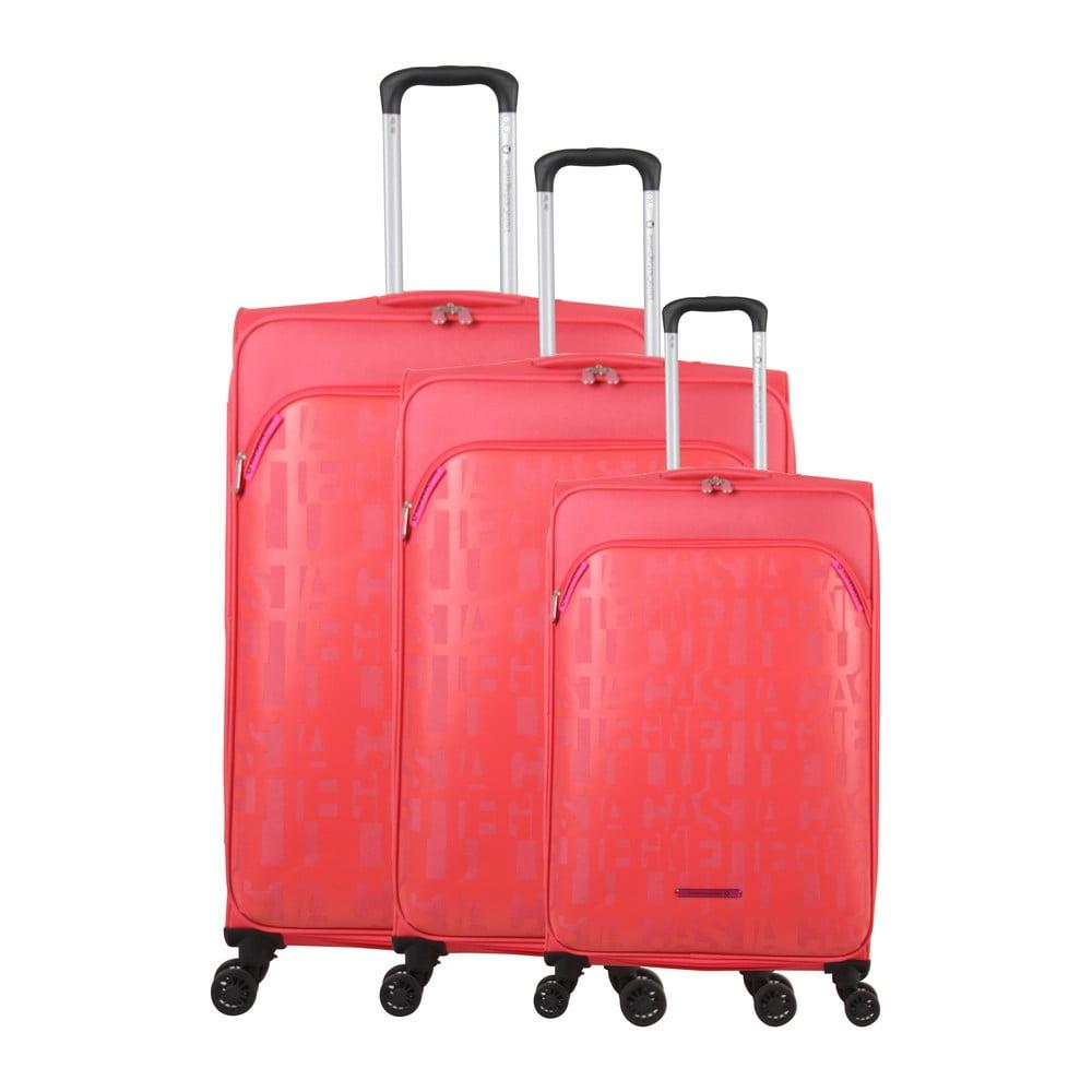 Sada 3 ružových kufrov na 4 kolieskach Lulucastagnette Bellatrice