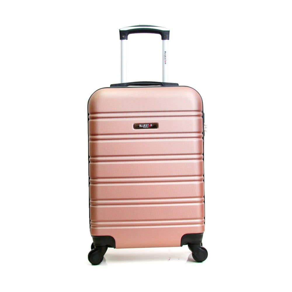 Svetloružový cestovný kufor na kolieskách BlueStar Bilbao, 35 l
