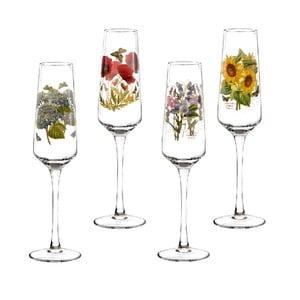 Sada 4 ks pohárov na šampaňské s motívom kvetín Portmeirion, 230 ml
