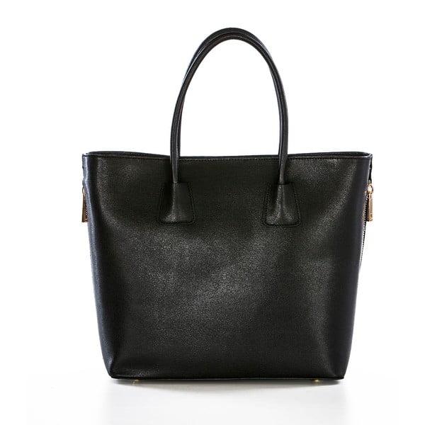 Čierna kožená kabelka Federica Bassi Saffiano
