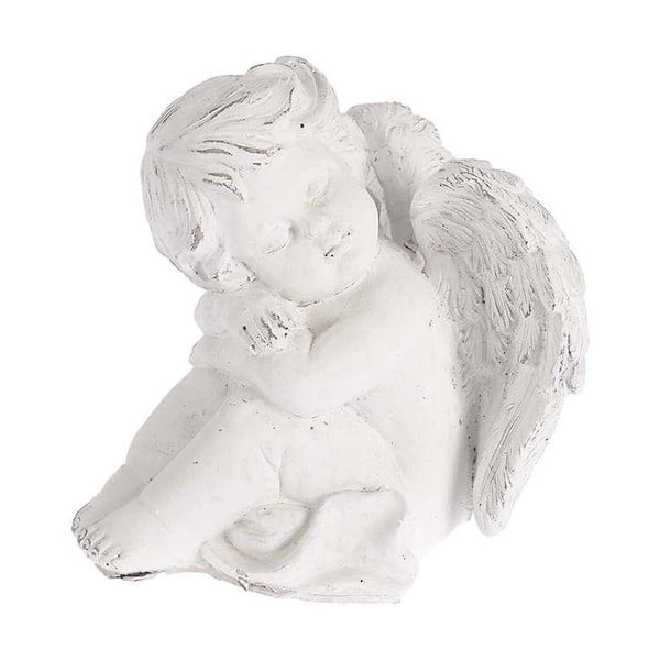 Keramický anjelik, 17x18 cm, biely