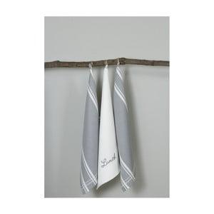 Sada 3 sivo-bielych kuchynských utierok My Home Plus Lunch, 50×70 cm