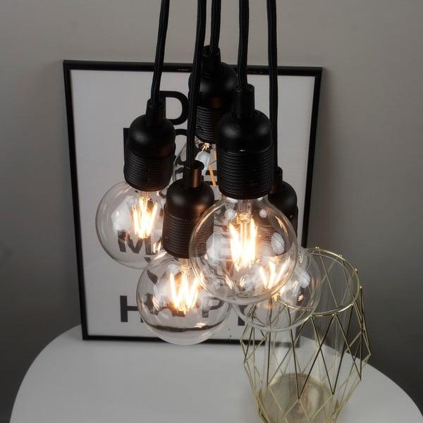 Čierne závesné svietidlo s 5 káblami Bulb Attack Uno Basic Unit