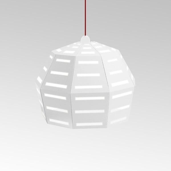 Kartónové svietidlo Uno Fantasia D White, s červeným káblom