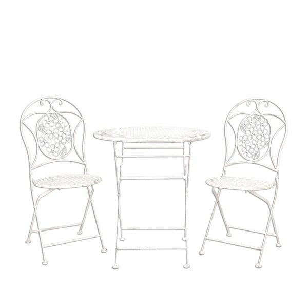 Sada kovového stolíka 2 stoličiek Provence, biela