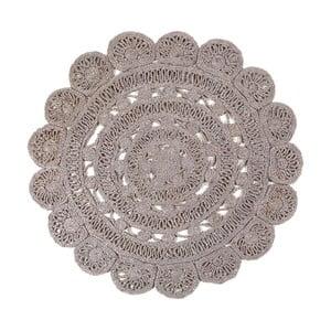 Béžová bavlnená ručne háčkovaná predložka Nattiot Amal, ⌀ 120 cm