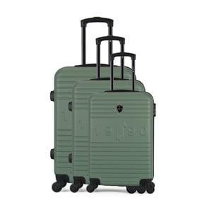 Sada 3 zelených cestovných kufrov na kolieskach GENTLEMAN FARMER Cadenas Integre