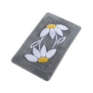 Sivá kúpeľňová predložka Confetti Bathmats Daisy Grey, 60 x 100 cm