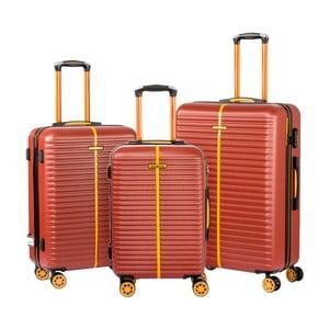Sada 3 hnedých cestovných kufrov na kolieskach Travel World Amazonia