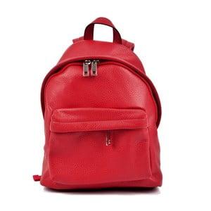 Červený kožený dámský batoh Roberta M Rahna