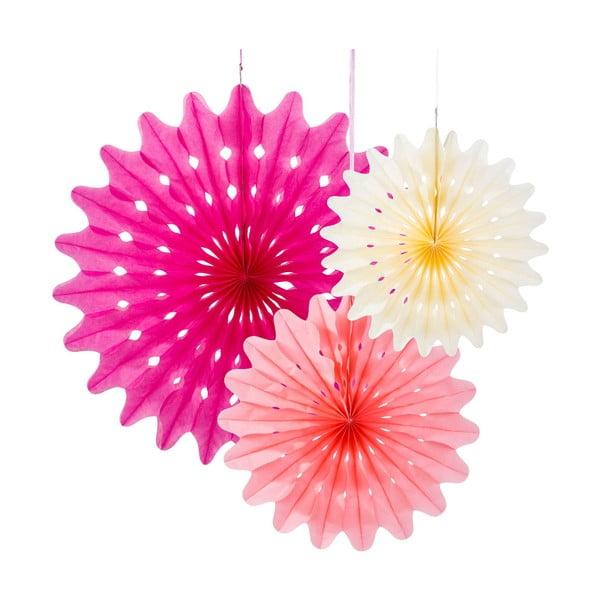 Papierová dekorácia Fan Blossom, 3 kusy