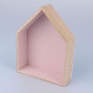 Závesná polička Domček 18x21 cm, ružová