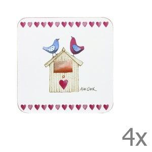 Sada 4 ks podložiek pod pohár Lovebirds, 10x10 cm
