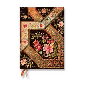 Diár na rok 2019 Paperblanks Filigree Floral Ebony Verso, 13 x 18 cm