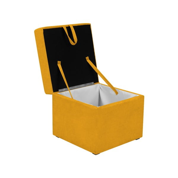 Žltá taburetka s úložným priestorom KICOTI Cube