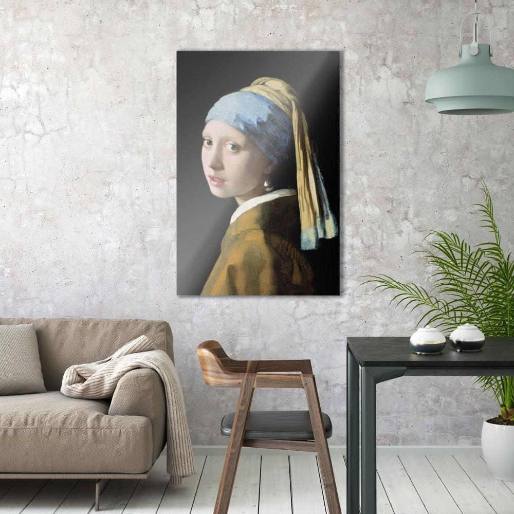 Sklenený obraz OrangeWallz Girl with a Pearl Earring, 76 x 114 cm