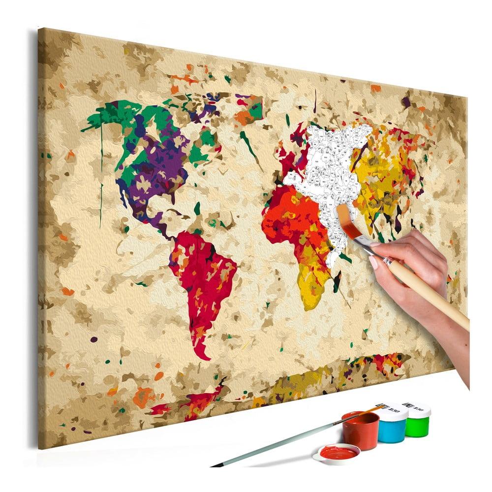 DIY set na tvorbu vlastného obrazu na plátne Artgeist Splashes Map, 60 × 40 cm