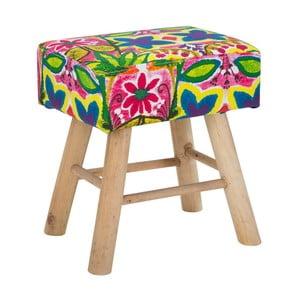 Stolička s podnožou z kaučukovníkového dreva Mauro Ferretti Hippie, dĺžka 37 cm