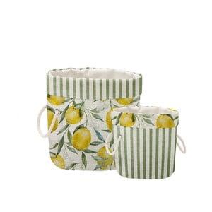 Sada 2 ks dekoratívnych košov Linen Lemons And Stripes