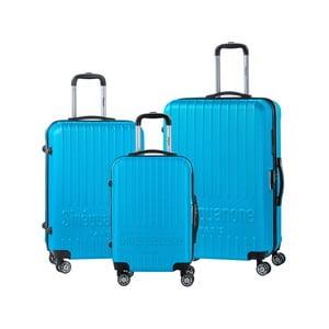 Sada 3 tyrkysove modrých cestovných kufrov na kolieskách s kódovým zámkom SINEQUANONE