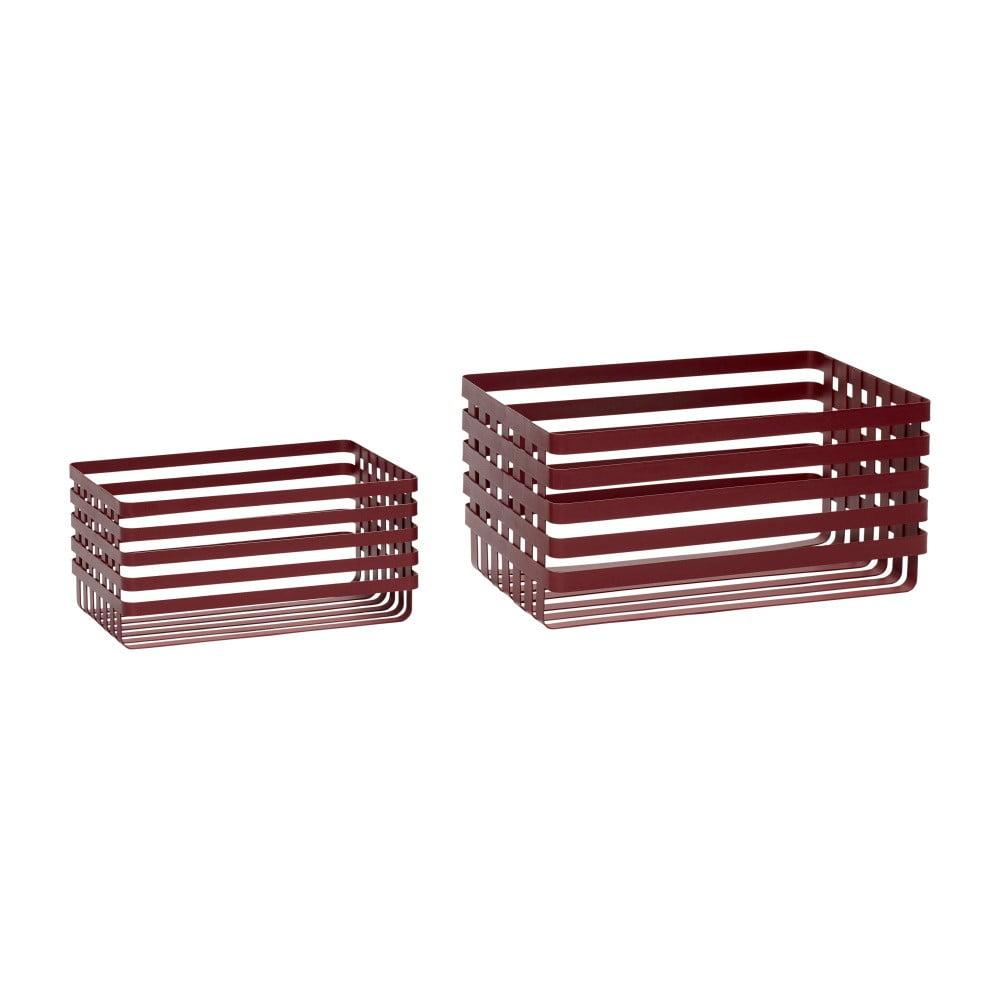 Sada 2 červených úložných košíkov Hübsch Wire Pantio