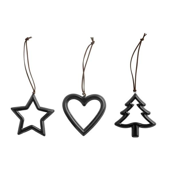 Sada 3 vianočných dekorácií KJCollection Metal Black
