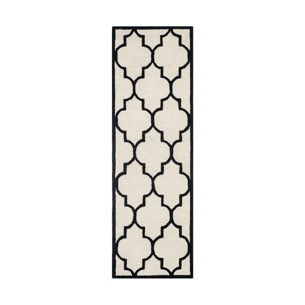 Vlnený koberec Everly 76x243 cm, biely/čierny