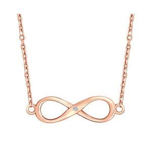 Strieborný náhrdelník vo farbe ružového zlata s pravým diamantom Tess Diamonds Olivia, dĺžka 40 cm
