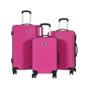 Sada 3 ružových cestovných kufrov LULU CASTAGNETTE Lucy