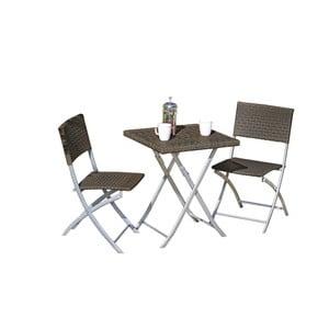 Set 2 tmavohnedých záhradných stoličiek a stola ADDU Norfolk