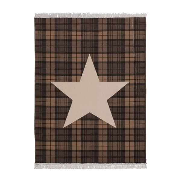Koberec Fringe - hnědá hviezda, 140x200 cm