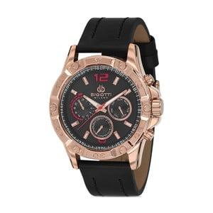 Pánske hodinky s čiernym koženým remienkom Bigotti Milano Livado